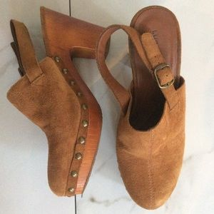 Lucky brand vivelle high heel studded suede clog